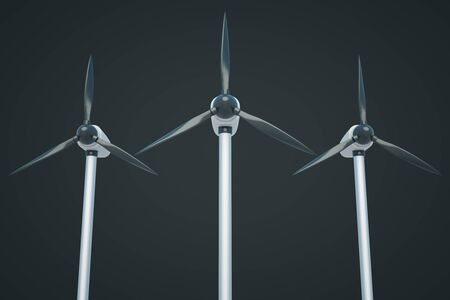 windpower: Three wind genetaros on dark background. 3D Rendering Stock Photo