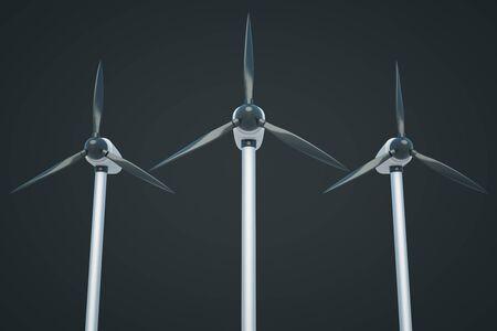 windfarm: Three wind genetaros on dark background. 3D Rendering Stock Photo