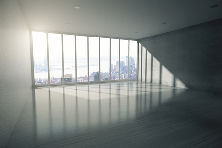 shiny floor: Empty room interior with shiny wooden floor, concrete walls and panoramic window with city view. 3D Rendering