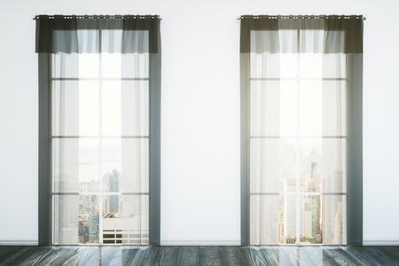 finestra: Due finestre con tende in sala interna con pavimento in legno scuro, muro di cemento e vista sulla città. Rendering 3D Archivio Fotografico