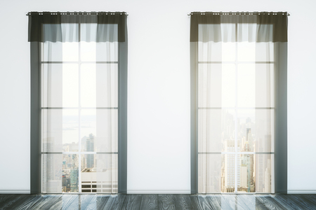 curtain: Two windows with curtains in room interior with dark wooden floor, concrete wall and city view. 3D Rendering