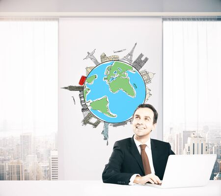 travelling: Smiling businessman in office with globe and sights sketch on wall thinking about business trip. Traveling concept. 3D Rendering