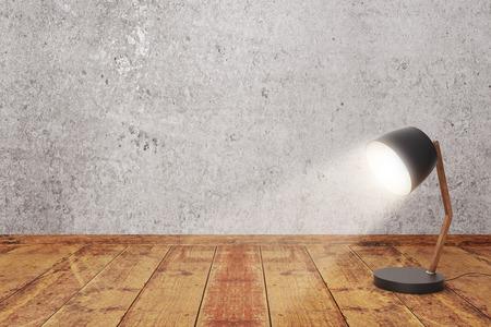 Draaide op de lamp op houten oppervlak en de betonnen muur achtergrond. Mock-up, 3D-rendering