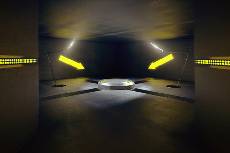 industrial decor: Abstract concrete interior with projection and illuminated yellow arrows pointing at it. 3D Rendering Stock Photo