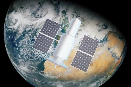 orbital station: Satellite over day time earth. 3D Rendering