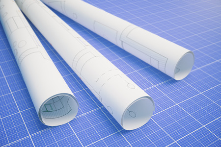 rolled: Paper rolls with architectural plan on blueprint pattern background. 3D Rendering