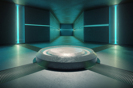 Abstract concrete interior illuminated with turquoise lights. 3D Rendering