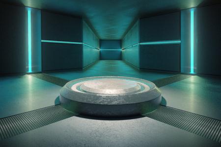 Abstract beton inter verlicht met turquoise lichten. 3D Rendering Stockfoto