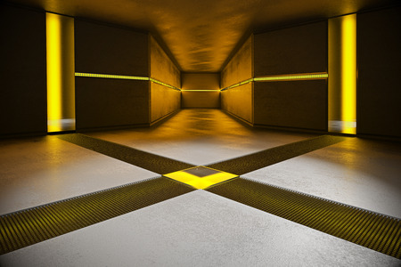 Abstract concrete interior with yellow lights. 3D Rendering Stock Photo