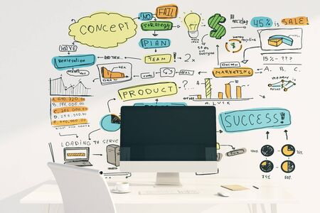 blank computer screen: Success concept with blank computer screen on white table and sketch on wall. Mock up, 3D Rendering Stock Photo
