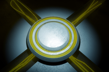 deserted: Closeup of concrete projection with yellow lights in interior. 3D Rendering
