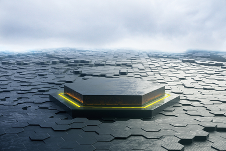 hexagon: Abstract hexagon pedestal and ground in cloudy sky. 3D Rendering