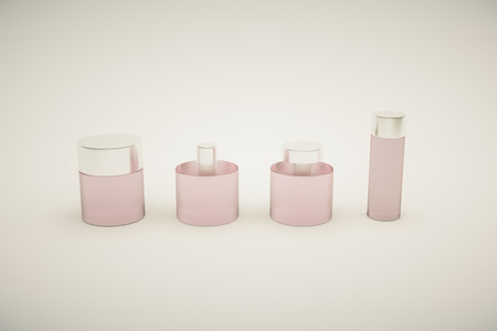 grey hair: Pink perfume bottles isolated on grey background. Mock up, 3D Rendering Stock Photo