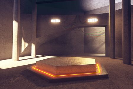 empty warehouse: Abstract concrete interior with illuminated orange hexagonal projection in the middle. 3D Rendering