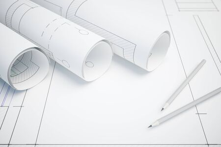 Architectural plan on paper and pencils. 3D Rendering