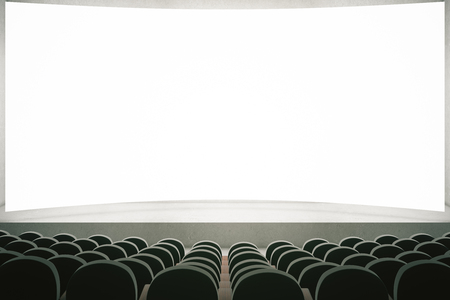 movie screen: Movie theater with rows of black seats and large blank screen. Mock up, 3D Rendering Stock Photo