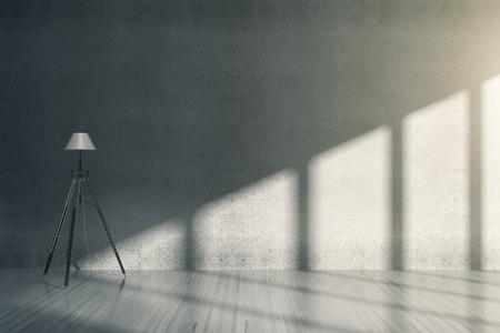 Interior del sitio de hormigón con lámpara de pie. Representación 3D Foto de archivo
