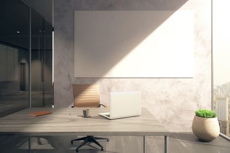 workspace: Office with workplace, blank whiteboard on wall, window with city view and sunlight. Mock up, 3D Rendering Stock Photo