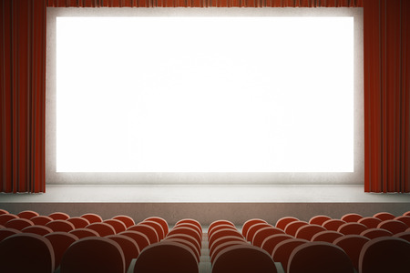 movie screen: Movie theater with rows of red seats and large blank screen with curtains. Mock up, 3D Rendering
