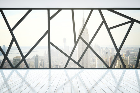 Creative wooden interior with abstract panoramic windows and New York city view. 3D Rendering Stock Photo