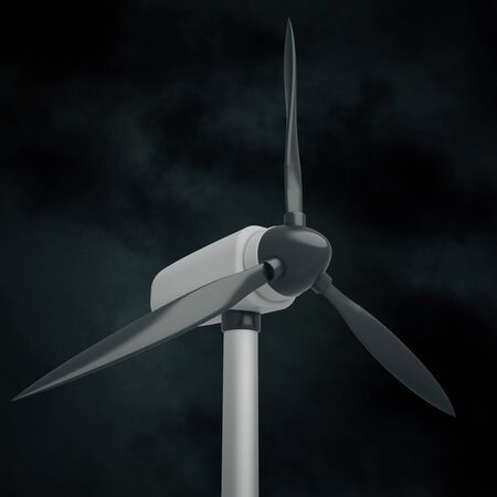 windpower: Closeup of wind generator on night sky background. 3D Rendering Stock Photo