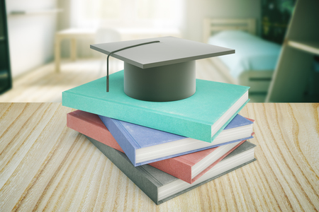 bachelor's: Books and graduation cap on wooden table and blurry bedroom in the background. Education concept. 3D Rendering Stock Photo