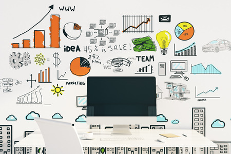 blank computer screen: Business concept with blank computer screen on desktop and sketch on wall. Mock up, 3D Rendering Stock Photo
