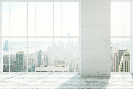 windows: diseño interior blanco vacío con ventanas con marcos, suelos de madera y pared de ladrillo blanco. Maqueta, 3D