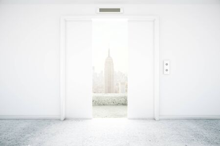 city view: Open white elevator with New York city view. 3D Rendering Stock Photo