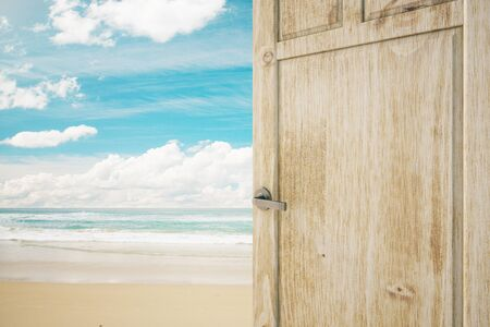seaside: Open wooden brown door with seaside view. 3D Rendering