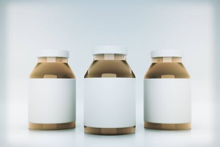 light brown background: Brown glass bottles with blank labels on light background. Mock up, 3D Rendering