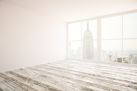 Side view of interior design with blank wall and New York city view. Mock up, 3D Rendering