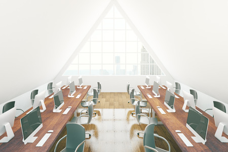 classrooms: Modern coworking office interior with numerous chairs, desks with computer monitors, wooden floor and triangular window with New York city view. 3D Rendering Stock Photo