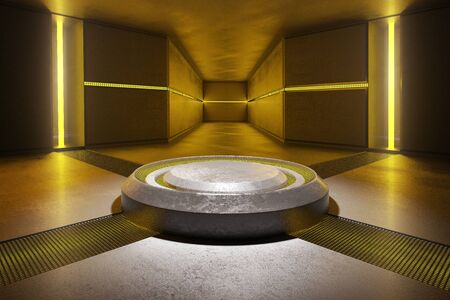 celling: Abstract concrete interior illuminated with yellow lights. 3D Rendering