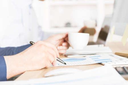 cuadro sinoptico: Lateral de análisis de negocios informe comercial sobre el café Foto de archivo