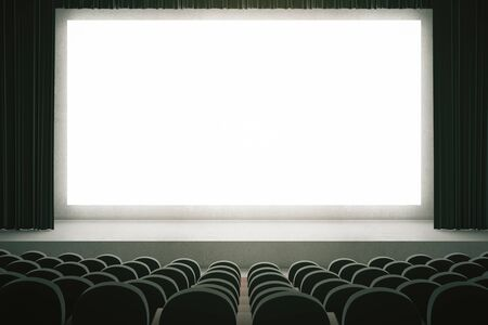 movie screen: Movie theater with rows of black seats and large blank screen with curtains. Mock up, 3D Rendering