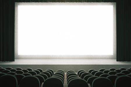 asiento: sala de cine con filas de asientos negros y gran pantalla en blanco con cortinas. Maqueta, 3D Foto de archivo
