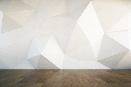 抽象模様のコンクリート壁と暗い木製の床とインテリア デザイン。3 D レンダリング