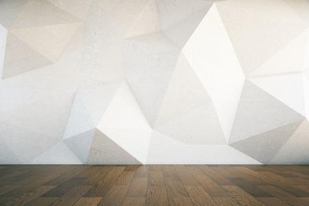 Il design degli interni con astratto muro di cemento a motivi geometrici e pavimento in legno scuro. Rendering 3D