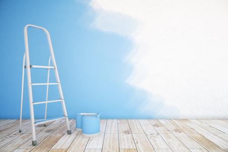 미완성 된 파란색 벽, 페인트 버킷, 사다리와 나무 바닥 방 인테리어. 모의 3D 렌더링 스톡 콘텐츠