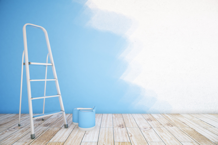 wall paint: Room interior with unfinished blue wall, paint buckets, ladder and wooden floor. Mock up, 3D Rendering