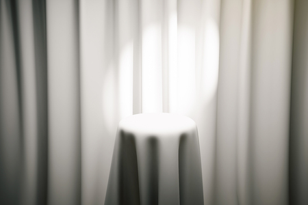 limelight: White magicians table with limelight and curtains in the background. Mock up, 3D Rendering
