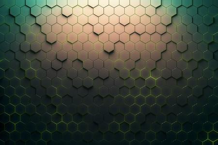 metallic background: Green honeycomb pattern. 3D Rendering