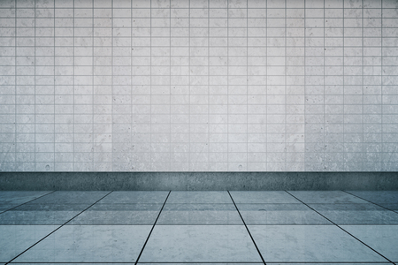 Empty metro station interior with tile wall and floor. Mock up, 3D Rendering