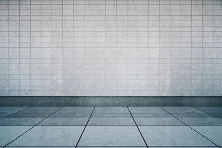 Vuoto interiore stazione della metropolitana con la parete di piastrelle e pavimento. Mock up, rendering 3d