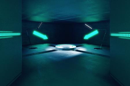 interior hormigón abstracto con proyección e iluminadas flechas de color turquesa apuntando a ella. Representación 3D