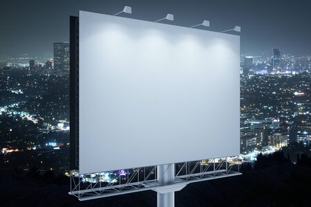 blank billboard: Blank commercial billboard with night city in the background. Side view. Mock up, 3D Rendering
