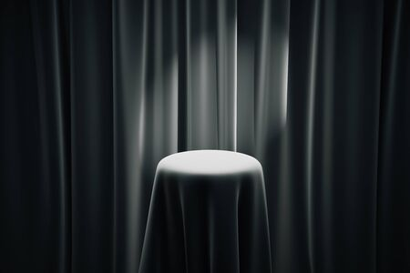 limelight: Black magicians table with limelight and curtains in the background. Mock up, 3D Rendering Stock Photo