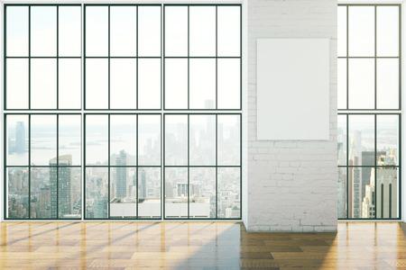 design d'intérieur vide avec fenêtres encadrées, parquet et affiche vierge sur le mur de briques. Maquette, Rendu 3D