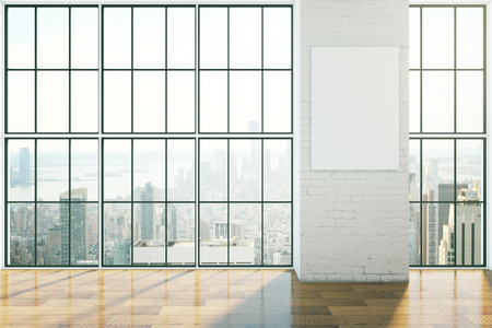 Empty interior design with framed windows, wooden floor and blank poster on brick wall. Mock up, 3D Rendering